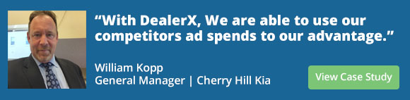 With DealerX, We are able to use our competitors ad spends to our advantage. Willaim Kopp, General Manager - Cherry Hill Kia. Only 1-Dealer per brand will be able to target their in-brand competitors in each AOI/DMA (Area of Influence/Dealership Marketing Area)
